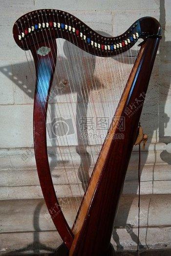 漂亮的竖琴乐器