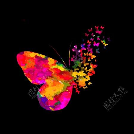 黑色背景上的抽象水彩蝴蝶