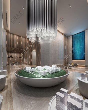 现代时尚售楼处蓝色背景墙工装效果图