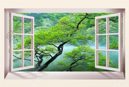3D立体橱窗绿树背景墙