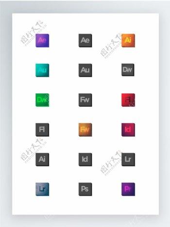 Adobe设计产品阴影效果图标集
