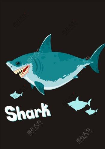 手绘卡通鲨鱼矢量图下载