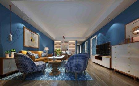创意室内客厅蓝色背景墙效果图