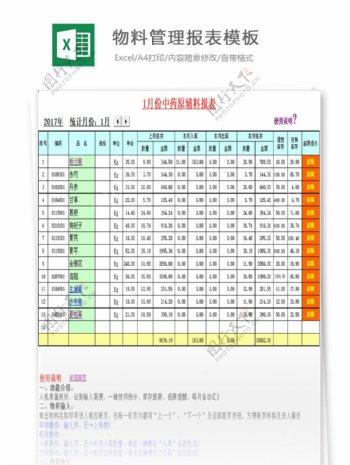 物料管理报表模板