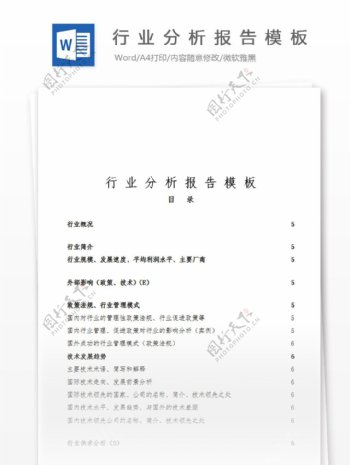 行业分析报告经典模板