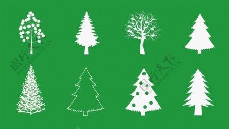 圣诞树矢量剪影图标