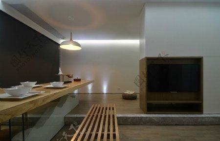 现代时尚客厅灰蓝色背景墙室内装修效果图