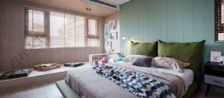 现代时尚卧室浅蓝色背景墙室内装修效果图