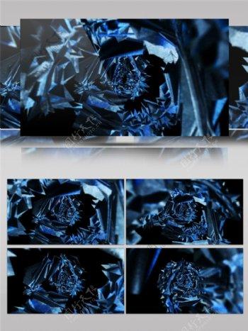 光蓝玫瑰高清视频素材