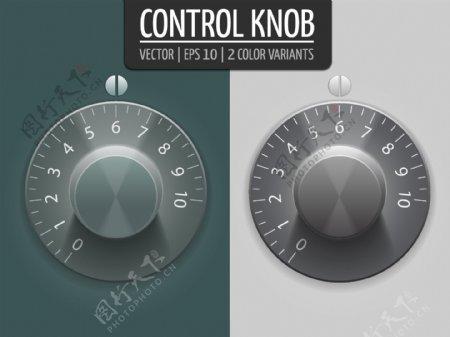 音量控制旋钮矢量插图您设计的UI元素eps10