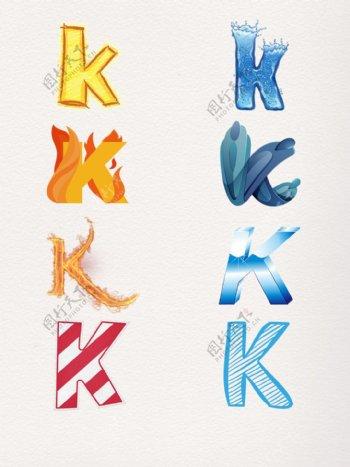 Klogo艺术字元素k商标图案图标