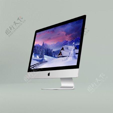 斜角度苹果台式iMac模型样机