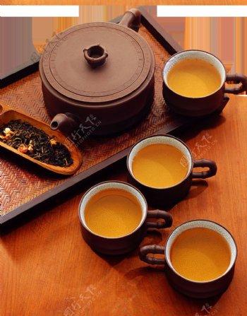 精致茶道褐色茶具产品实物