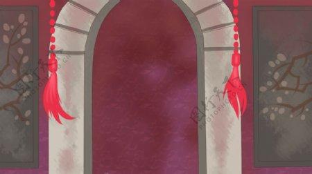 古代拱形门洞红色流苏装饰背景