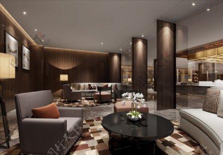 会客厅3d渲染模型