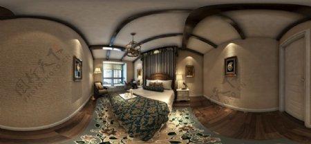美式卧室MAX全景效果图