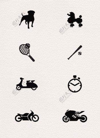 黑色简约手绘运动休闲图标