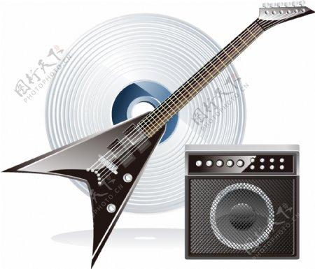 矢量吉他音响元素