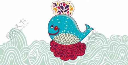手绘卡通在水里游玩的小鱼矢量图