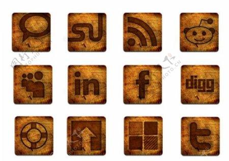 木纹标志桌面图标ICO格式