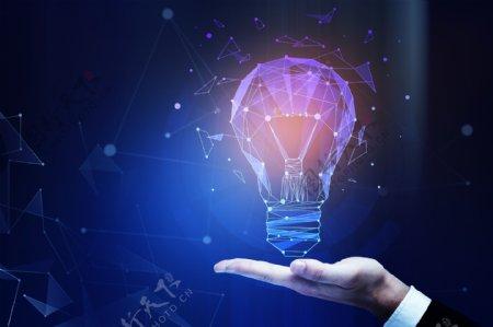 手托灯泡智能科技创意合成背景