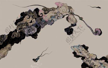 新中式水墨抽象画祥云