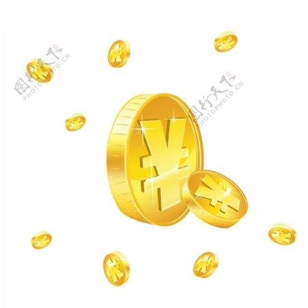 立体人民币金币渐变原创分图层漫天撒钱