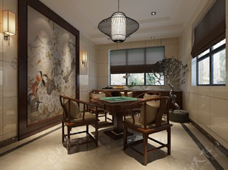 中式麻将桌餐厅功能区效果图