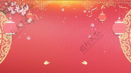 庆祝春节灯笼广告背景