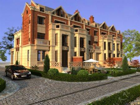 三层双拼大理石贴面现代欧式别墅
