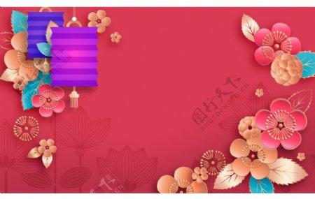 喜庆彩色春节灯笼花朵背景设计