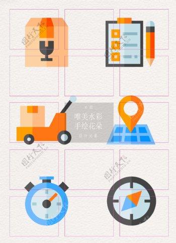 卡通创意物流运输icon设计