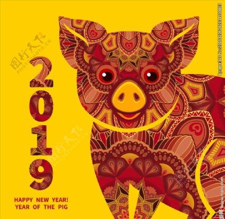 2019年猪年插画