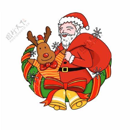 圣诞节红色圣诞老人麋鹿