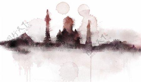水墨抽象城市水彩玄关屏风背景电