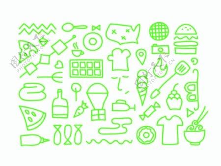 烹饪相关的绿色图标
