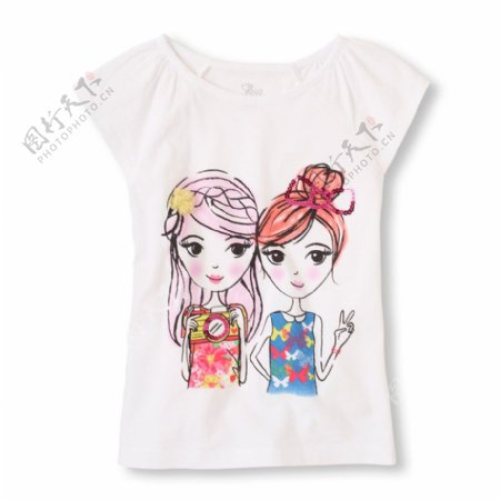 卡通女童装饰图案