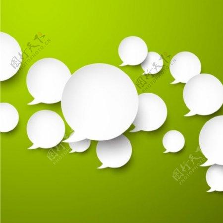 具有绿色背景向量的语音泡泡