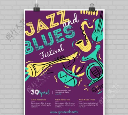 彩绘蓝调音乐节海报矢量素材