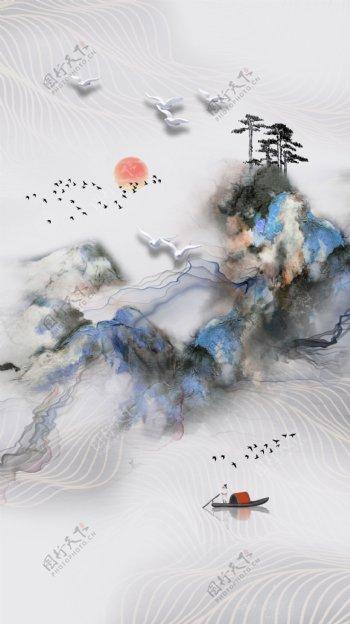 现代中式抽象水墨画