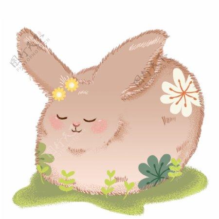 手绘童话风毛茸茸的印花兔子