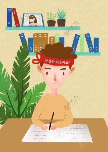 谢和卡通风格在努力为学生准备psd海报