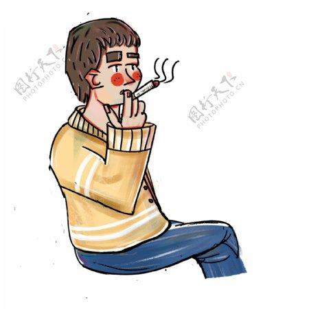 卡通简约抽烟的男孩装饰素材