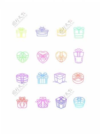 炫彩时尚礼物盒图标原创元素