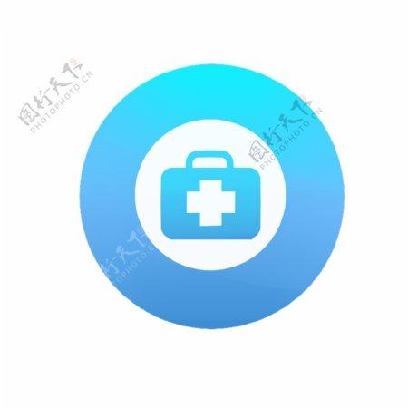 卡通手绘蓝色医疗医药箱子logo