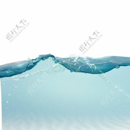 蓝色水浪水流元素