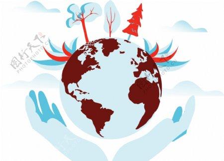 卡通手托地球矢量图片