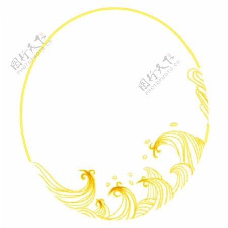 黄色水浪边框插图
