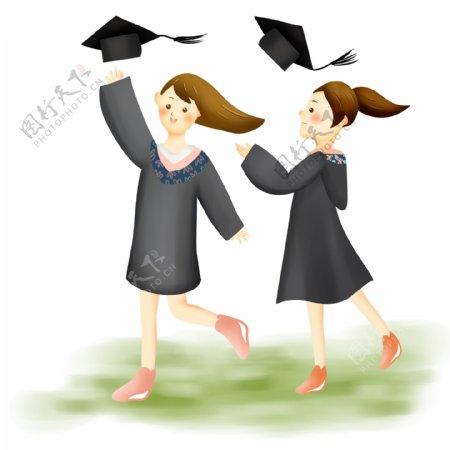 扔掉学士帽的毕业生