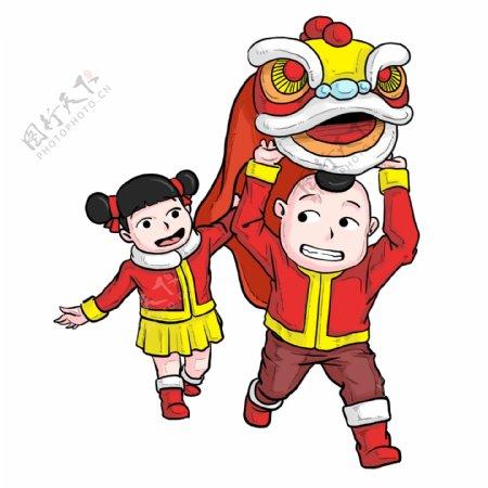 中国风新年舞狮表演